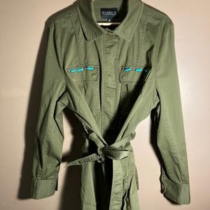 Eloquii army green blue pearls belted jacket